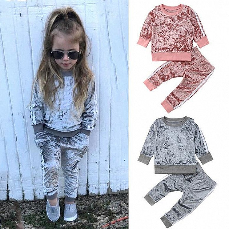 Velvet Kids Baby Girls Clothes Sets Solid Long Sleeve T-shirt Tops + Pants 2PCS Outfit Sets 1-5T