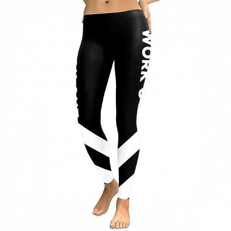 Slim New Striped 2018 Women Leggings Workout Digital Print Fitness High Waist Leggin Black White Pat