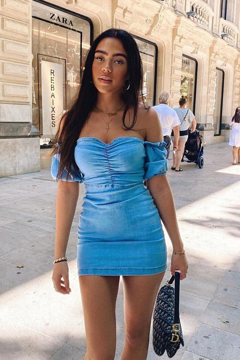 20% OFF - LIGHT BLUE DENIM FRONT RUCHED DETAIL BARDOT BODYCON MINI DRESS!