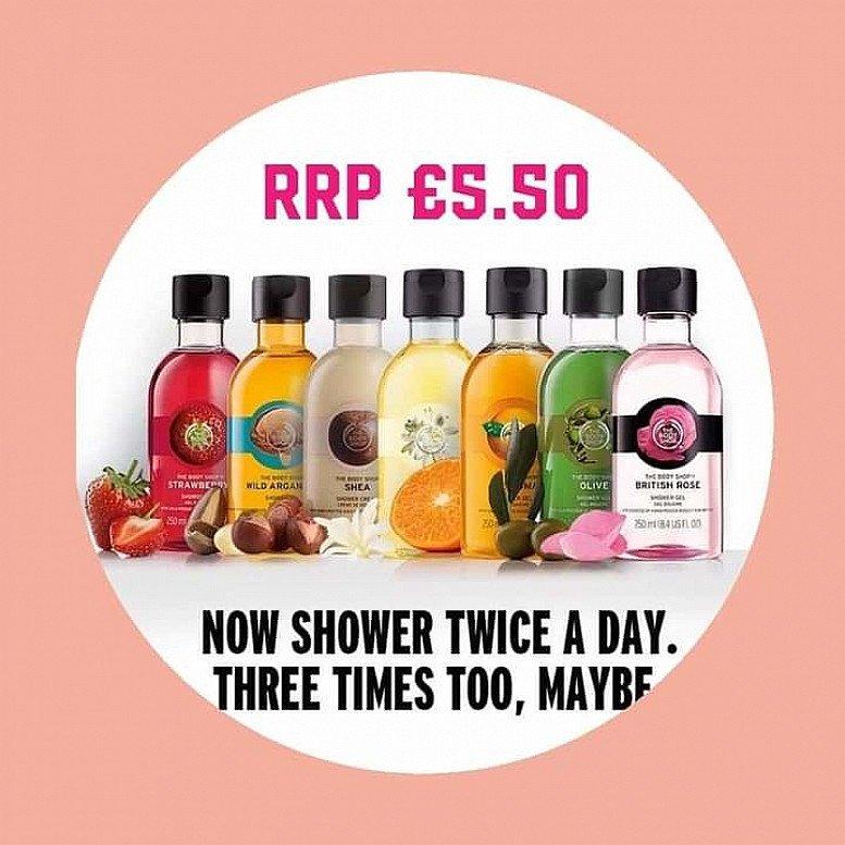 Body shop shower gels £5.50