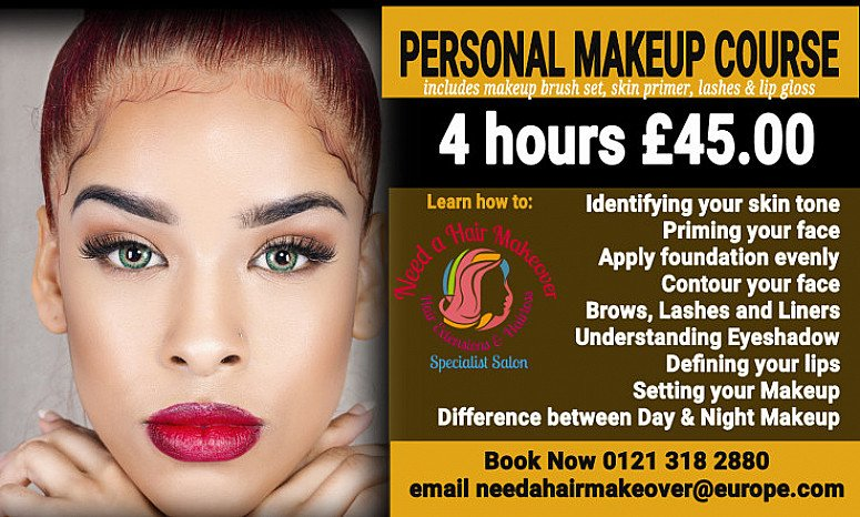 4 hours Personal Makeup Course in Birmingham