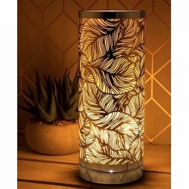 Silver Leaf Pattern Touch Aroma Lamp