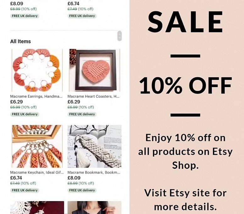 10% OFF Entire Etsy Shop