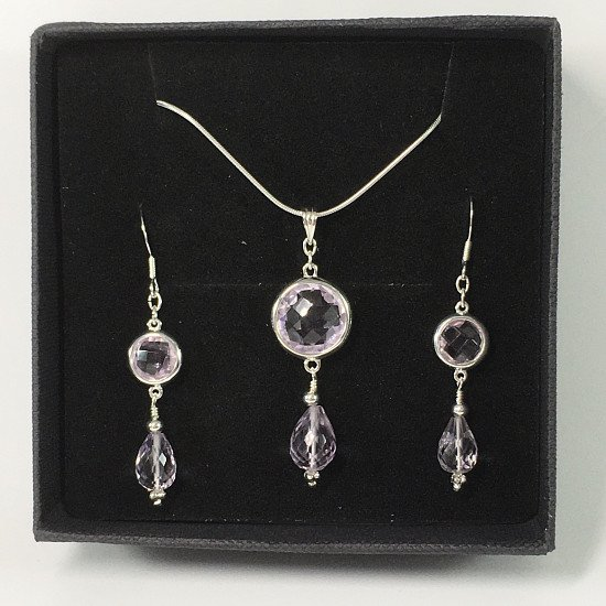 Pink Amethyst And Sterling Silver Necklace Set