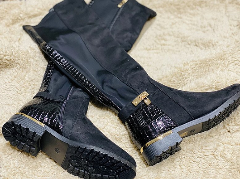 Georgina Lock Knee High Boots - Suede (BB)