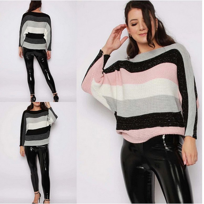 Batwing Stripe Metallic Knitted Jumper (BB) Available In 2  Colours
