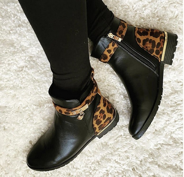 Ankle lock Boots - Leopard PU (BB)