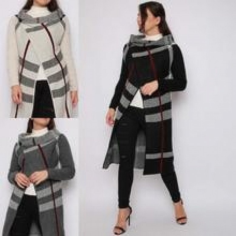 Cowl Neck Wrap Knitted Cardigan (BB)