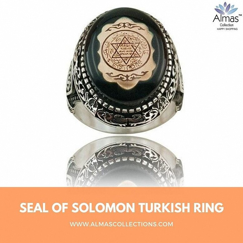 Seal of Solomon Turkish Aeeq Stone Rings