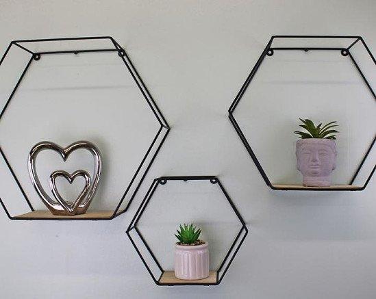 Set of 3 Hexagonal Wall Shelves £38