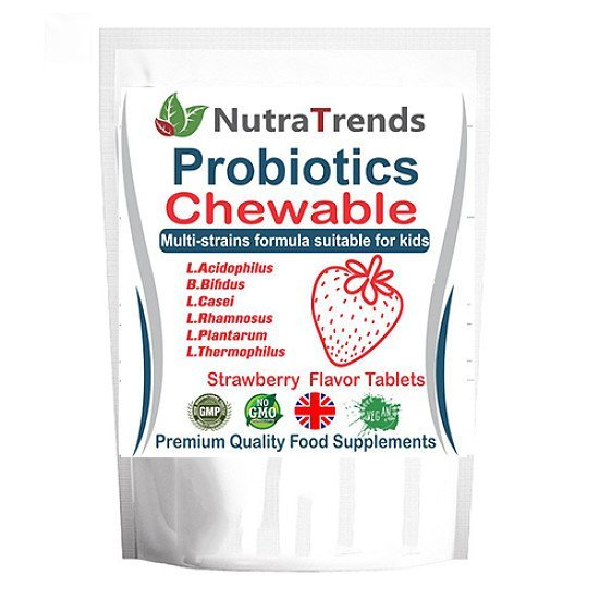 Probiotics Chewable tablets Strawberry flavor Multi-strains formula for kids Vegan 60 Tablets