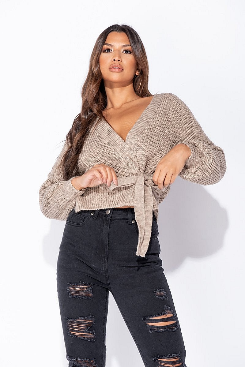 MOCHA WRAP FRONT BELTED PUFF SLEEVE CROPPED CARDIGAN