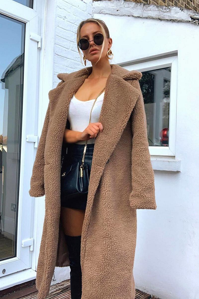 SALE - MOCHA LONGLINE BORG TEDDY COAT!