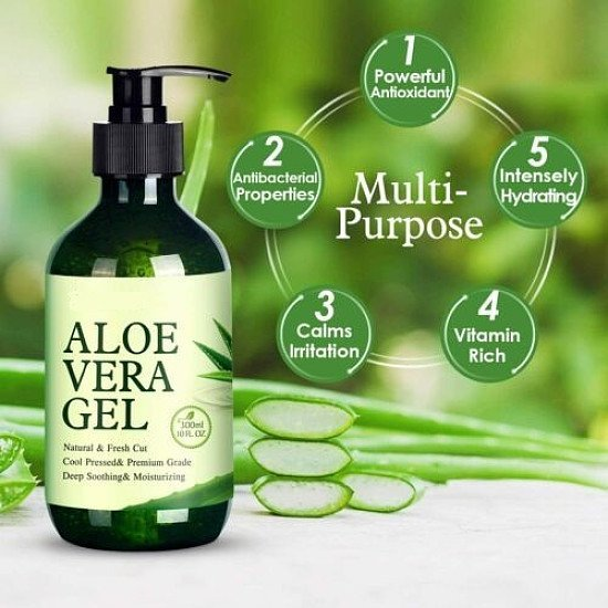 Pure Aloe Vera Gel Organic Aloe Vera Soothing Gel 100% Natural for All Skin