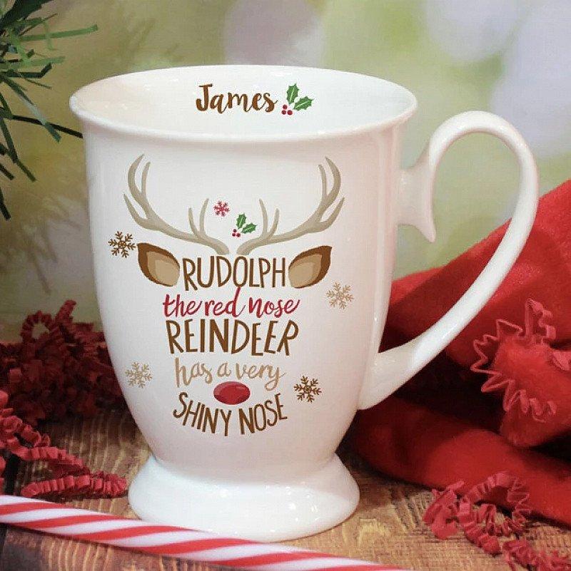 Personalised Reindeer Christmas Mug
