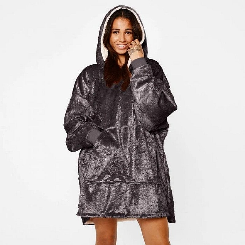 Crushed Velvet Hooded Blanket - Charcoal Grey