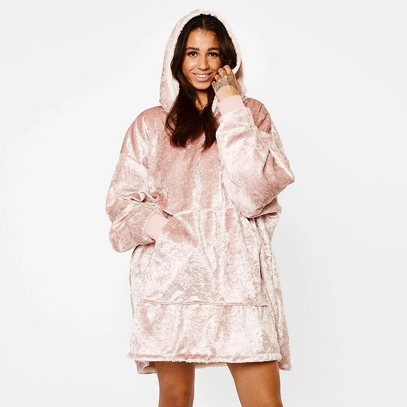 Crushed Velvet Hooded Blanket - Blush Pink