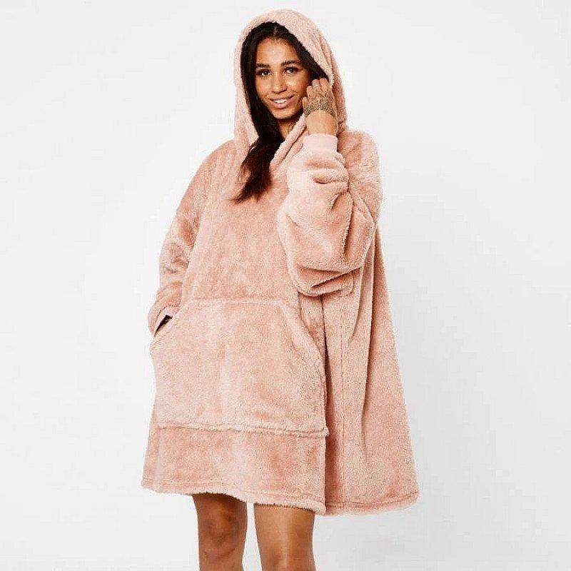 Teddy Fleece Hoodie Blanket - Blush Pink