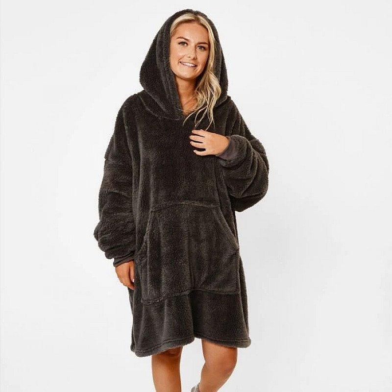 Teddy Fleece Hooded Blanket - Charcoal Grey