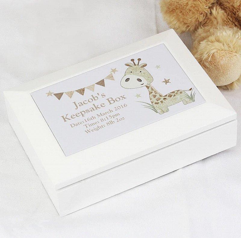 Personalised Hessian Giraffe Keepsake Box