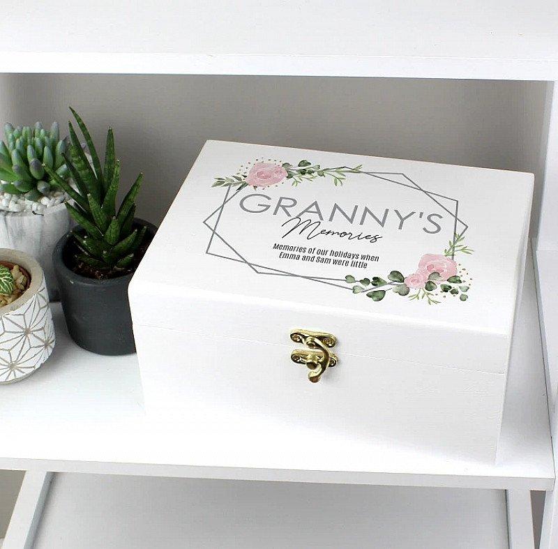 Personalised Abstract Rose Wooden Keepsake Box