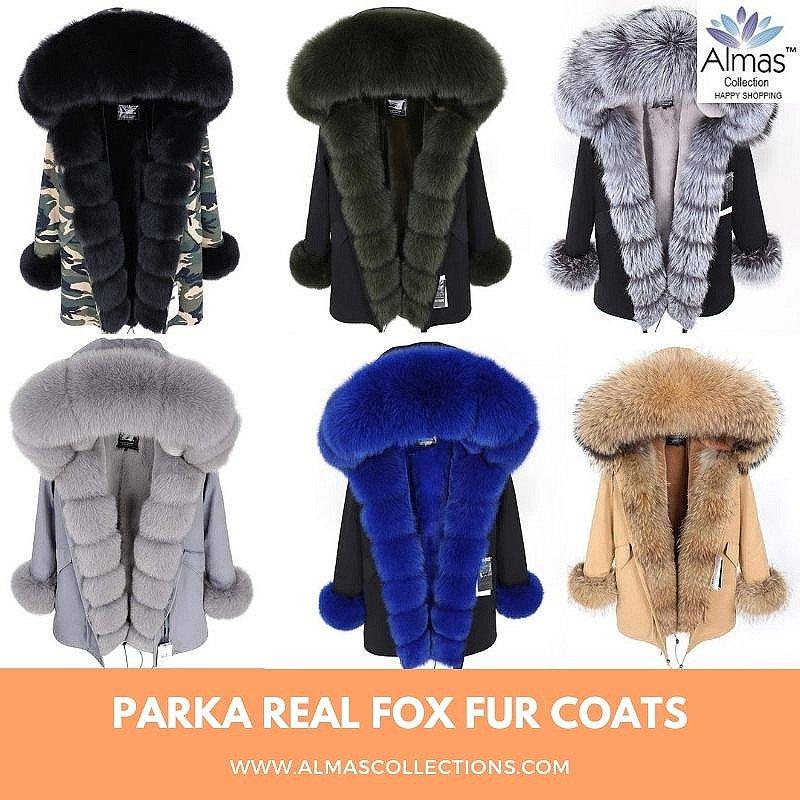 Parka Natural Real Fox Fur Coats