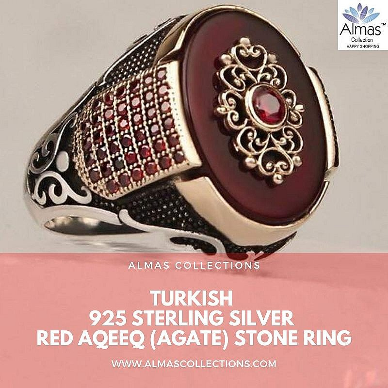 Turkish 925 Silver Red Aqeeq Agate Zircon Stone Ring