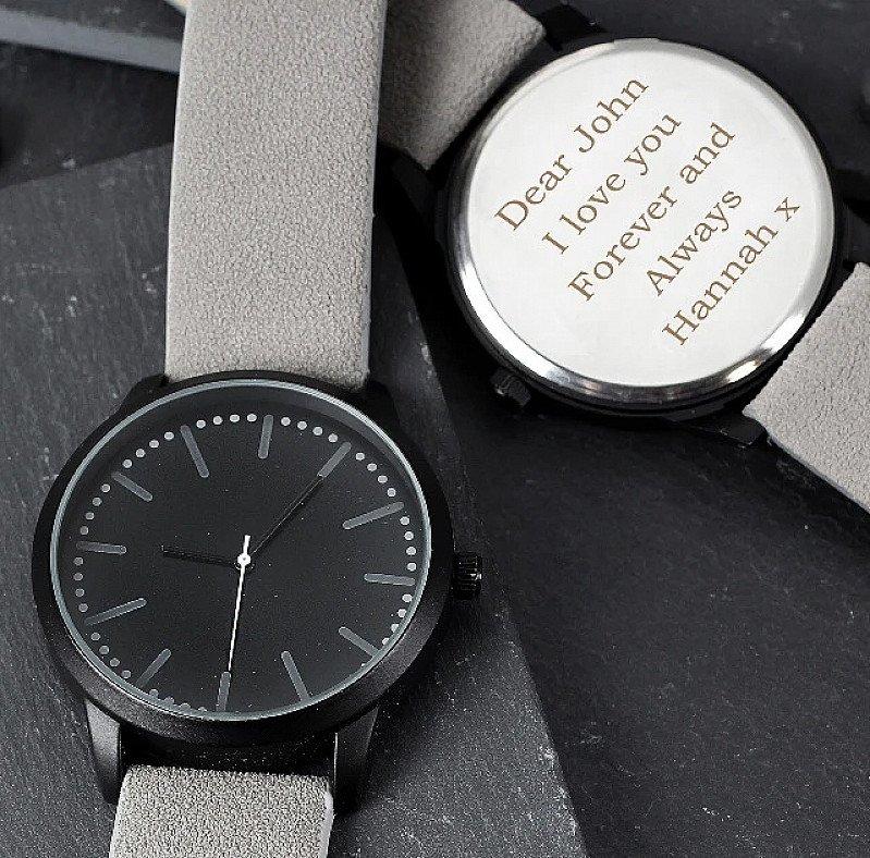 Personalised Men's Matte Black Watch