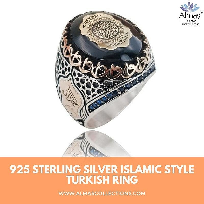 925 Sterling Silver Islamic Style Turkish Ring