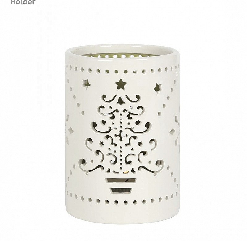 Small Ceramic Cutout Christmas Tree Candle Holder