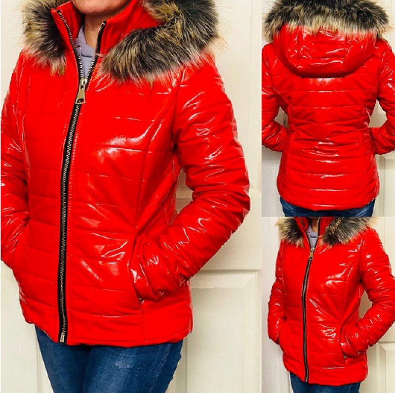 Freya Wet Look Coat- Red (BB)