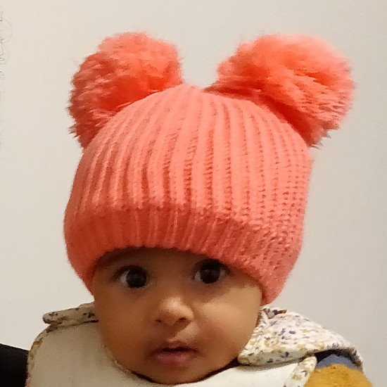 Hand knit, baby hat