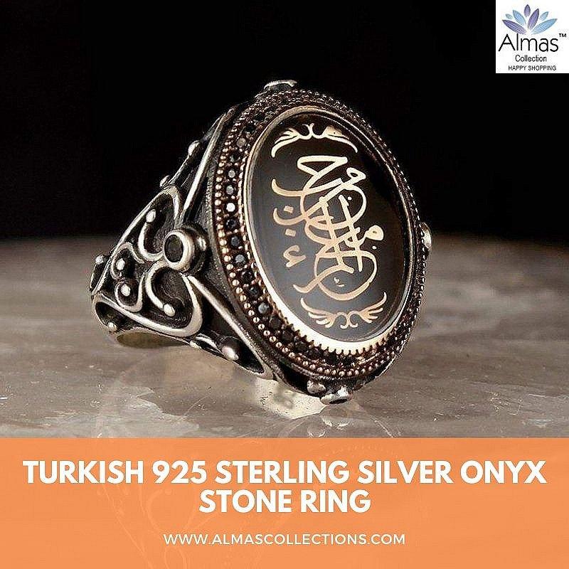 Silver Edep Ya Hu Ring |Turkish Onyx Stone Ring | Almas Collections |