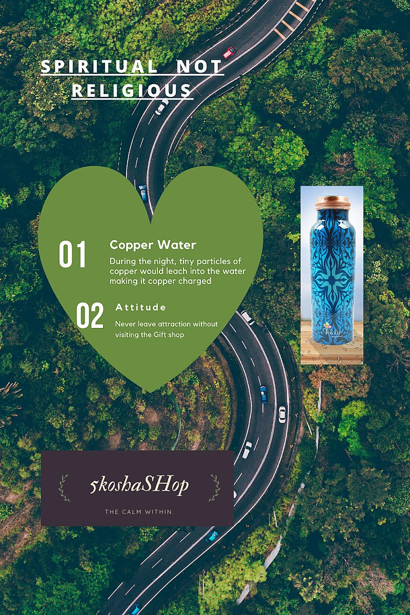 100% pure Copper water bottle as mentioned in the 5 Koshas or Sheaths (Panch Kosha)