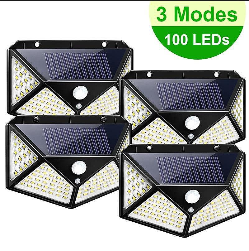 100LED Solar Power Motion Sensor Wall Light /Lamp Outdoor Garden Waterproof