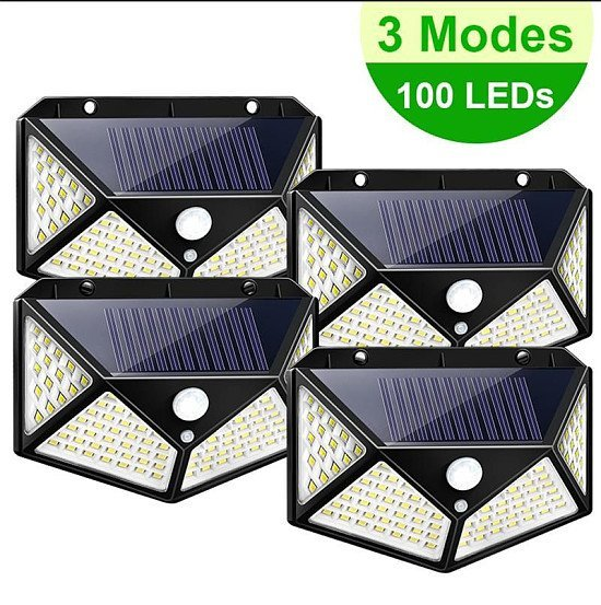 100LED Solar Power Motion Sensor Wall Light /Lamp Outdoor Garden Waterproof