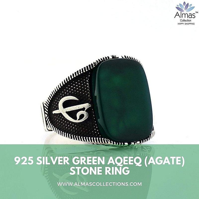 925 Silver Green Aqeeq (Agate) Stone Ring