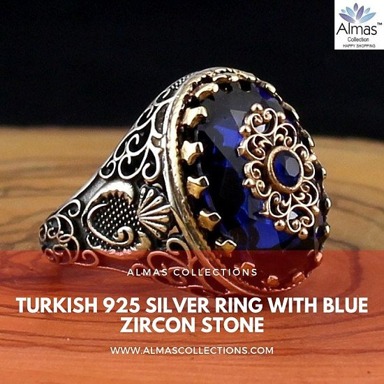Turkish 925 Silver Ring with Blue Zircon Stone