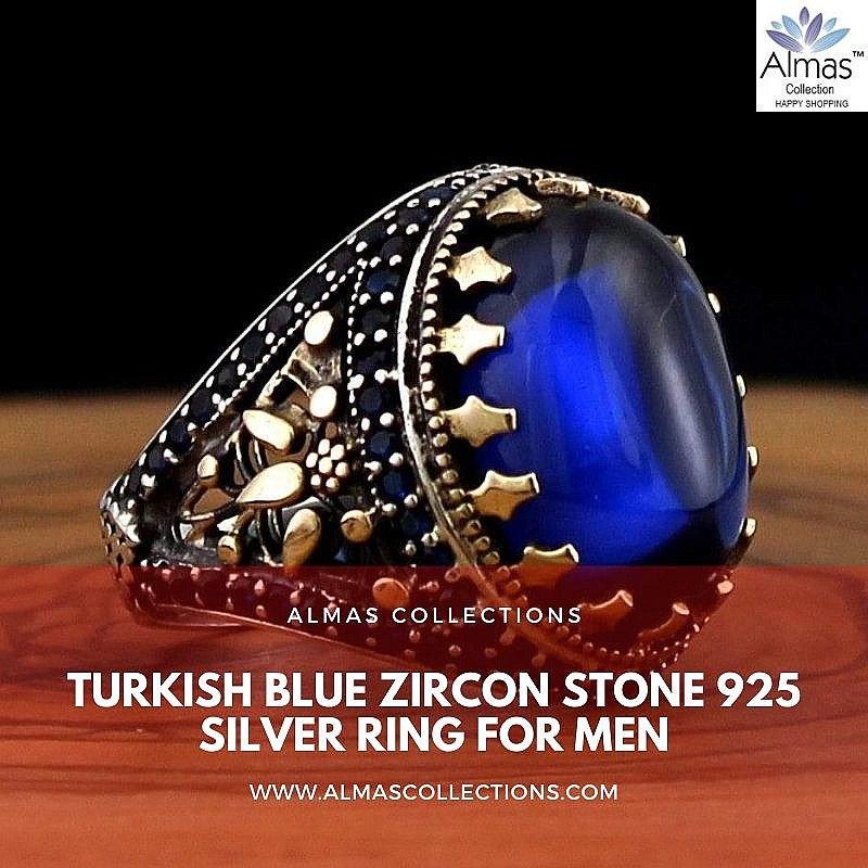 Turkish Blue Zircon Stone 925 Silver Ring for Men
