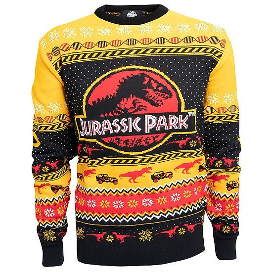 CHRISTMAS JUMPERS - Jurassic Park Christmas Knitted Jumper, Yellow £34.99!