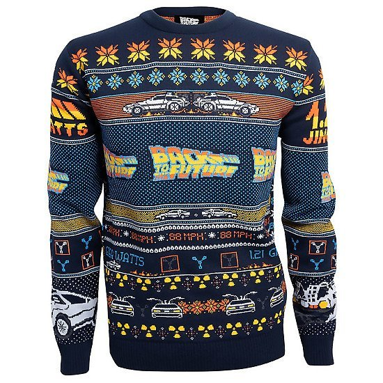 CHRISTMAS JUMPER - Back to the Future Christmas Knitted Jumper, Navy £34.99!
