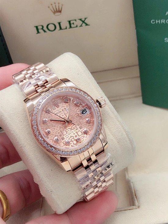 Rolex Date Just Pink Diamond Rose Gold Ladies Watch