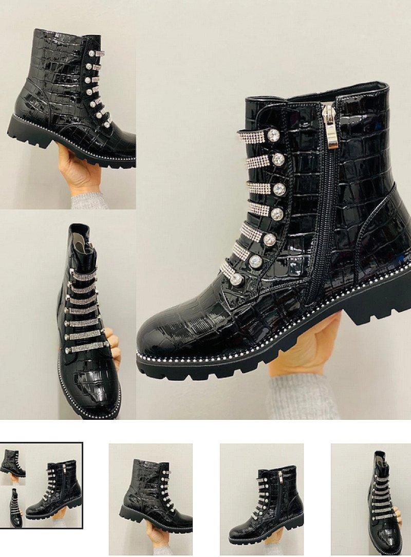 Keira Diamante Boots - Croc Print (BB)