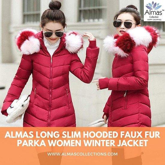 Almas Long Slim Hooded Faux fur Parka Women Winter Jacket