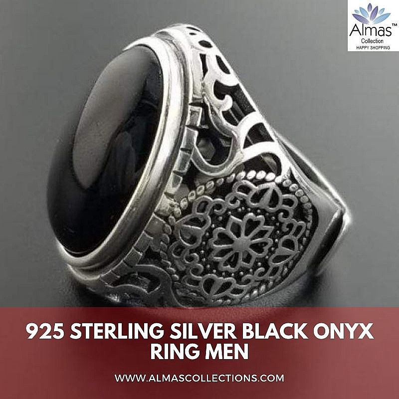925 Sterling Silver Black Onyx Ring for Men
