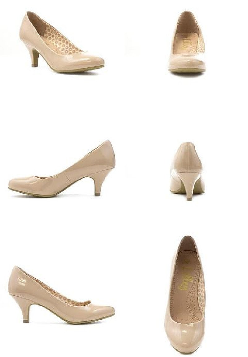 SAVE 23% -  Womens Patent Court Shoe in Nude!