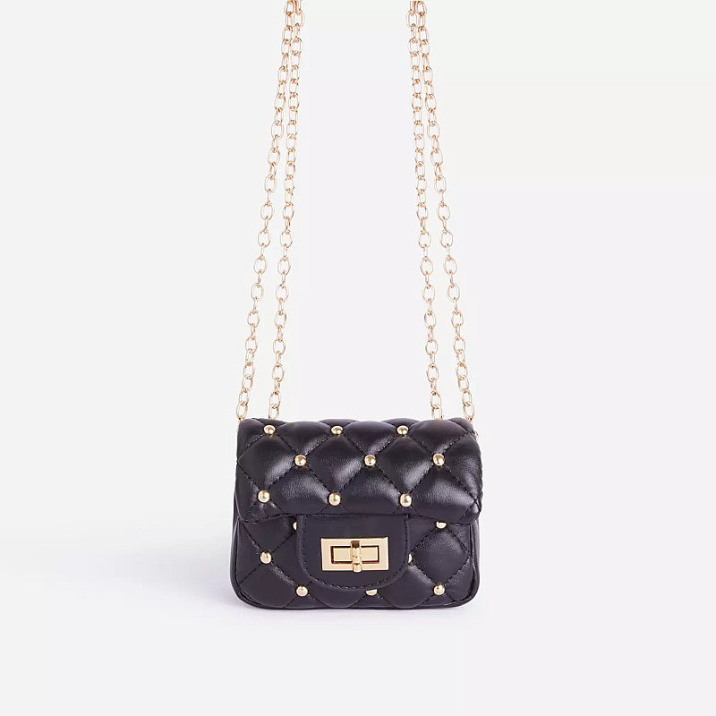 SALE - Birdy Studded Detail Quilted Mini Bag In Black Faux Leather
