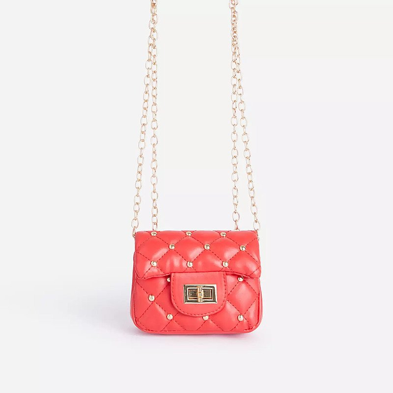 SALE - Birdy Studded Detail Quilted Mini Bag In Red Faux Leather!