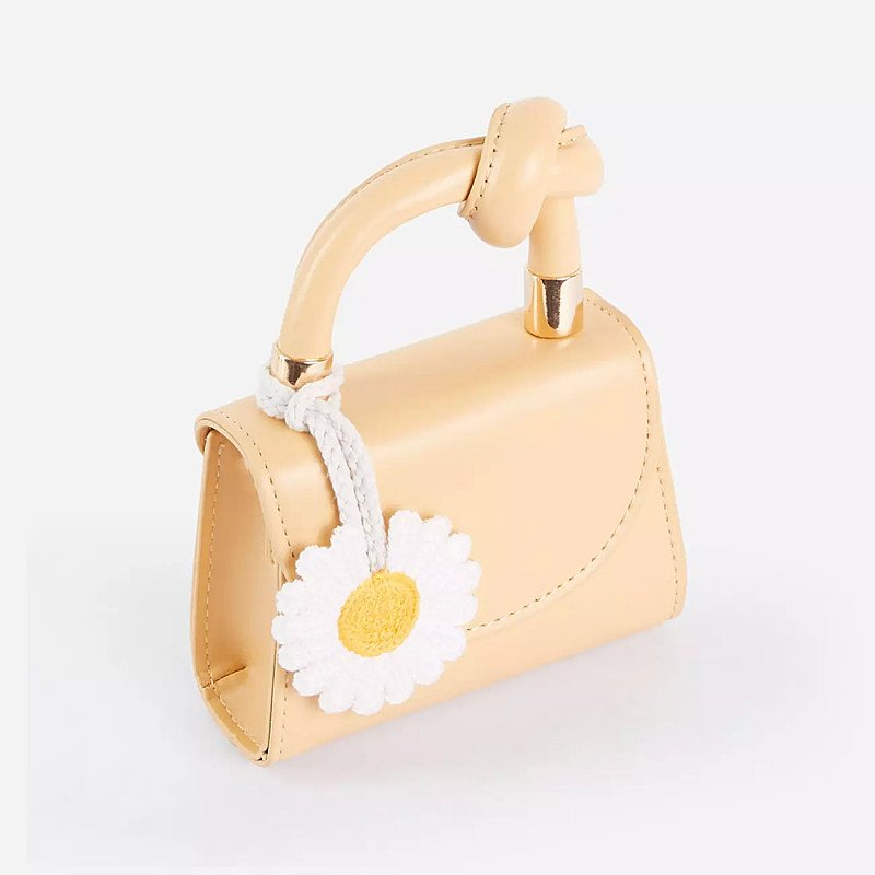 SALE - Boutique Daisy Detail Mini Bag In Yellow Faux Leather!