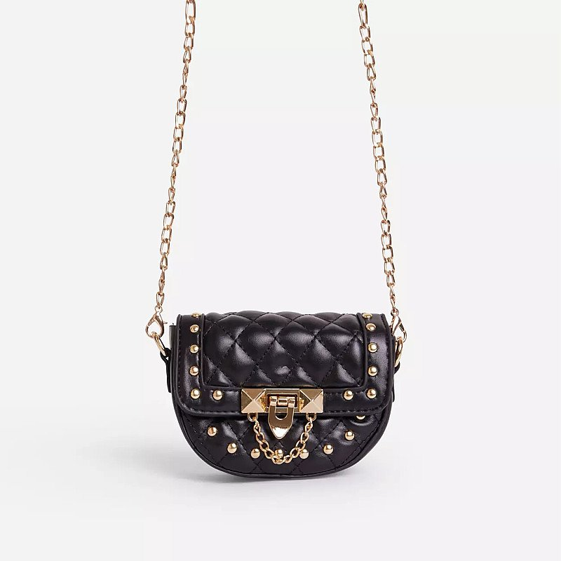 SALE - Prettie Studded Detail Quilted Mini Cross Body Bag In Black Faux Leather!